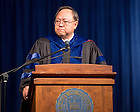 May 17, 2015; Dean Roger Huang speaks at the Mendoza College of Business Undergraduate Commencement. (Photo by Matt Cashore/University of Notre Dame)