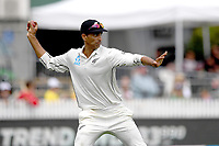 1st December 2019, Hamilton, New Zealand;  Jeet Raval fires the ball back in to the wicket. International test match cricket, New Zealand versus England at Seddon Park, Hamilton, New Zealand. Sunday 1 December 2019.