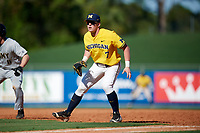 Michigan Wolverines first baseman Jesse Franklin (7) during a game against Army West Point on February 17, 2018 at Tradition Field in St. Lucie, Florida.  Army defeated Michigan 4-3.  (Mike Janes/Four Seam Images)