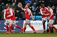 Paddy Madden of Fleetwood Town (centre) celebrates after he scores the opening goal of the game during the Sky Bet League 1 match between Gillingham and Fleetwood Town at the MEMS Priestfield Stadium, Gillingham, England on 27 January 2018. Photo by David Horn.