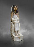 Female ancient Egyptian statue, New Kingdom, 18th Dynasty, (1480-1390 BC), Thebes Necropolis. Egyptian Museum, Turin. Grey background. Drovetti collection.