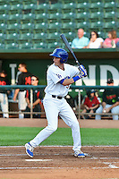 Cody Bellinger (35) of the Ogden Raptors at bat against the Great Falls Voyagers in Pioneer League action at Lindquist Field on July 18, 2014 in Ogden, Utah.  (Stephen Smith/Four Seam Images)