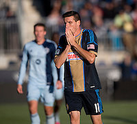Sebastien Le Toux (11) of the Phildelphia Union reacts to a missed shot on goal during a Major League Soccer game at PPL Park in Chester, PA. Sporting Kansas City defeated the Philadelphia Union, 2-1.