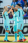 Luis Alberto Suarez Diaz (R) of FC Barcelona celebrates after scoring his goal with his teammates during the La Liga 2017-18 match between CD Leganes vs FC Barcelona at Estadio Municipal Butarque on November 18 2017 in Leganes, Spain. Photo by Diego Gonzalez / Power Sport Images