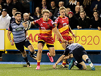 Dragons' Tyler Morgan wrong foots Cardiff Blues' Rhun Williams<br /> <br /> Photographer Simon King/CameraSport<br /> <br /> Guinness Pro14 Round 6 - Cardiff Blues v Dragons - Friday 6th October 2017 - Cardiff Arms Park - Cardiff<br /> <br /> World Copyright &copy; 2017 CameraSport. All rights reserved. 43 Linden Ave. Countesthorpe. Leicester. England. LE8 5PG - Tel: +44 (0) 116 277 4147 - admin@camerasport.com - www.camerasport.co