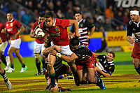 Rhys Webb is tackled during the 2017 DHL Lions Series rugby union match between the NZ Provincial Barbarians and British & Irish Lions at Toll Stadium in Whangarei, New Zealand on Saturday, 3 June 2017. Photo: Dave Lintott / lintottphoto.co.nz