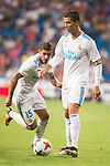 Real Madrid's Cristiano Ronaldo and Theo Hernandez during XXXVIII Santiago Bernabeu Trophy at Santiago Bernabeu Stadium in Madrid, Spain August 23, 2017. (ALTERPHOTOS/Borja B.Hojas)