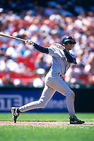 SAN FRANCISCO, CA - Steve Finley of the San Diego Padres in action during a game against the San Francisco Giants at Candlestick Park in San Francisco, California on July 1, 1995. Photo by Brad Mangin