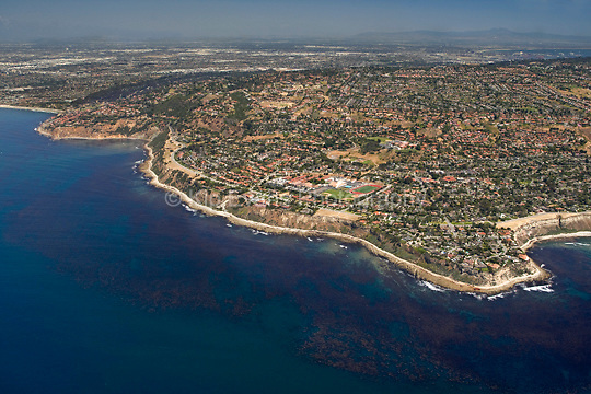 Aerial view of Palos Verdes, looking northeast, with a productive kelp forest in the foreground along the coast.