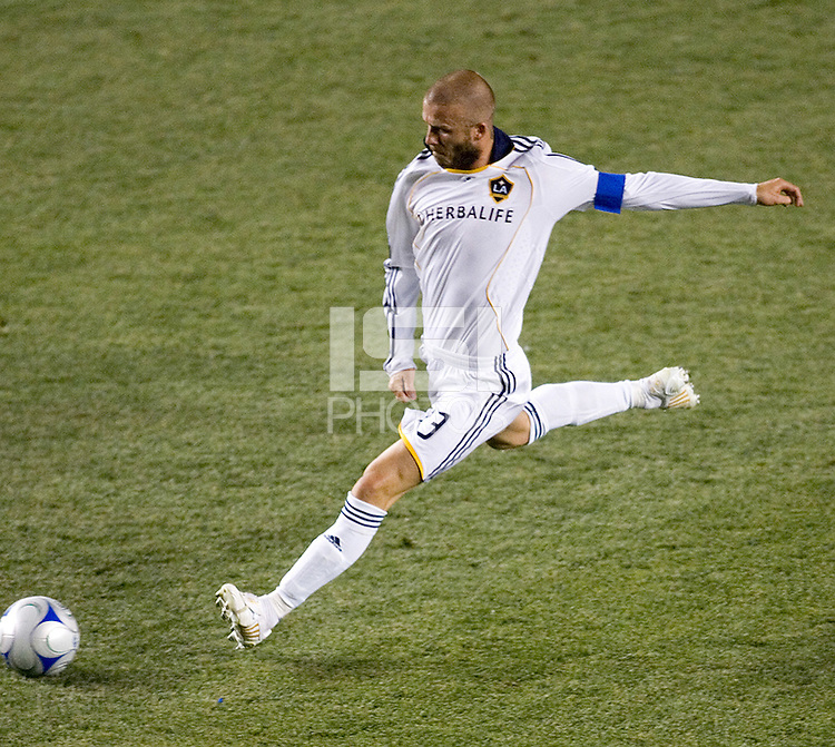 LA Galaxy midfielder and Captain David Beckham (23) takes a shot on goal during the Super Clasico MLS match. The LA Galaxy defeated Chivas USA 5-2 during the SuperClasico at the Home Depot Center Stadium, in Carson, California, Saturday, April 26, 2008.