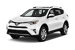 2016 Toyota RAV4 Hybrid-Limited-4x4 5 Door SUV Angular Front stock photos of front three quarter view