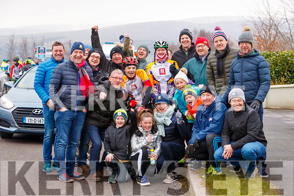 Richie O'Sullivan and Terry McDonnell of the Chaingang Cycling Club pictured with supporters at the Lacey Cup Cycle on Sunday morning last.