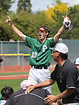 Palo Verde's Nickolai Zuppas celebrates with teammates after their 4-2 win over Basic for the NIAA 4A baseball championship in Reno, Nev., on Saturday, May 19, 2018. Cathleen Allison/Las Vegas Review-Journal