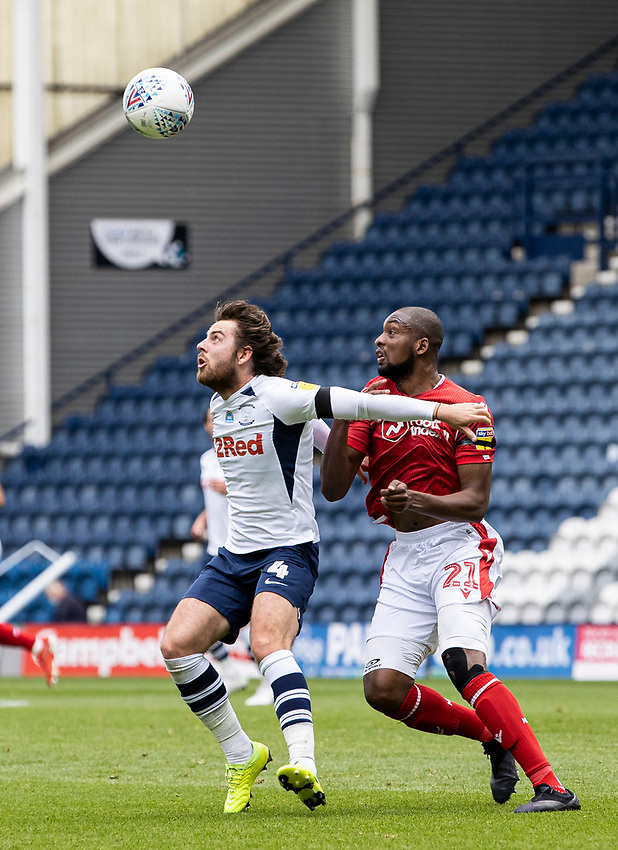 Preston North End's Ben Pearson competing with Nottingham Forest's Samba Sow (right) <br /> <br /> Photographer Andrew Kearns/CameraSport<br /> <br /> The EFL Sky Bet Championship - Preston North End v Nottingham Forest - Saturday 11th July 2020 - Deepdale Stadium - Preston <br /> <br /> World Copyright © 2020 CameraSport. All rights reserved. 43 Linden Ave. Countesthorpe. Leicester. England. LE8 5PG - Tel: +44 (0) 116 277 4147 - admin@camerasport.com - www.camerasport.com