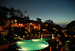 The night time view of the pool at the Discovery Hotel on Marigot Bay, St. Lucia. jim