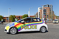 Pictured: A police car in the colours of the rainbow takes part in the Pride parade as it travels through the streets of Swansea, Wales, UK. Saturday 05 May 2018<br /> Re: Spring Pride has brought a celebration of colour to the streets of Swansea in Wales, UK.<br /> Rainbow flags were flown in support of the LGBT community at the event, which is designed to raise awareness and is open to anyone to take part in.