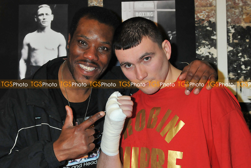 Robin Dupre (R) with coach Chris Okoh - Dupre was left frustrated when his opponent weighed in 15lbs over the weight and his fight was called off at The Ring, London - 27/03/14 - MANDATORY CREDIT: Philip Sharkey/TGSPHOTO - Self billing applies where appropriate - 0845 094 6026 - contact@tgsphoto.co.uk - NO UNPAID USE