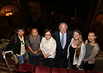 Wen Chen, Zhiyong Liu, Yanping Ma, Stewart F. Lane, Bonnie Comley and Zhenzhu Ma during the Central Academy of Drama: Professors tour The Palace Theatre on September 25, 2017 at the The Palace Theatre in New York City.