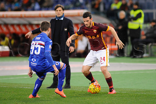 07.02.2016. Stadium Olimpico, Rome, Italy.  Serie A football league. AS Roma versus Sampdoria. Florenzi Alessandro takes on Ivan of Sampdoria