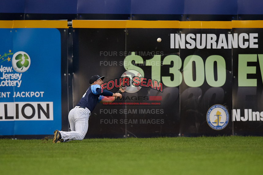 Trenton Thunder left fielder Trey Amburgey (14) dives for a ball in the outfield during a game against the New Hampshire Fisher Cats on August 19, 2018 at ARM & HAMMER Park in Trenton, New Jersey.  New Hampshire defeated Trenton 12-1.  (Mike Janes/Four Seam Images)