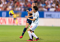 FRISCO, TX - MARCH 11: Carli Lloyd #10 of the United States collides with Moeka Minami #5 of Japan during a game between Japan and USWNT at Toyota Stadium on March 11, 2020 in Frisco, Texas.