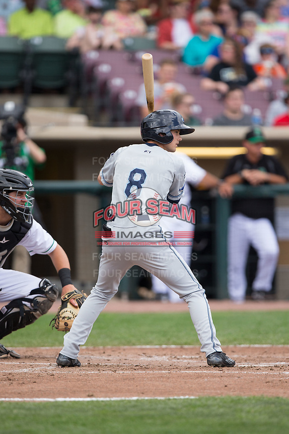 Danny Woodrow (8) of the West Michigan Whitecaps at bat against the Dayton Dragons at Fifth Third Field on May 29, 2017 in Dayton, Ohio.  The Dragons defeated the Whitecaps 4-2.  (Brian Westerholt/Four Seam Images)