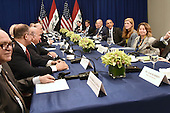 United States President Barack Obama (fourth from righ) seated between U.S. Vice President Joe Biden (fourth from right) and Samantha Power (third from right), United States Ambassador to the United Nations, attend a bilateral meeting with Prime Minister Haider al-Abadi (fifth from left) of Iraq at the Lotte New York Palace Hotel in New York, NY, on September 19, 2016. <br /> Credit: Anthony Behar / Pool via CNP