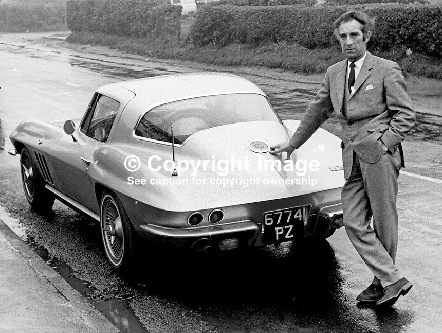 Clancey McDermott, N Ireland-based scout for English soccer clubs. October 1966. Manager, Bangor FC, 1962-1964. He is picture with his left-hand drive Corvette Stingray. 196609000037<br />