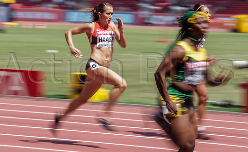 22.08,2015. Beijing, China.   Germany's Rebekka Haase competes in the Women's 100 m Round 1 of the 15th International Association of Athletics Federations (IAAF) Athletics World Championships in Beijing, China.