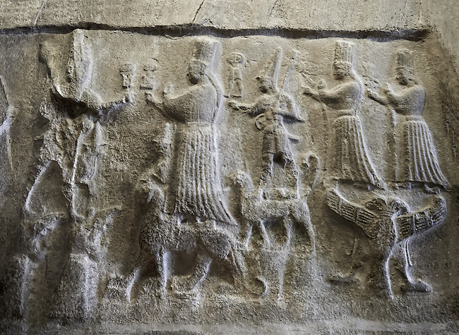 End relief panel of the 13th century BC Hittite religious rock carvings of Yazılıkaya Hittite rock sanctuary, chamber A, Hattusa, Bogazale, Turkey . Plastercast at the Vorderasiatisches Museum, Pergamon Museum, Berlin.