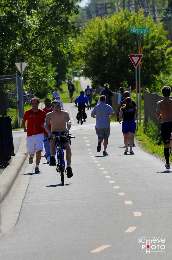 University of Wisconsin-Madison students on bike path in Madison, Wisconsin.