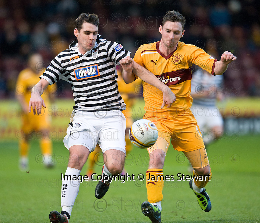 JAMES BROUGH TRIES TO HOLD OFF MOTHERWELL'S ROBERT MCHUGH ..07/01/2012 sct_jsp020_motherwell_v_queens_park     .Copyright  Pic : James Stewart.James Stewart Photography 19 Carronlea Drive, Falkirk. FK2 8DN      Vat Reg No. 607 6932 25.Telephone      : +44 (0)1324 570291 .Mobile              : +44 (0)7721 416997.E-mail  :  jim@jspa.co.uk.If you require further information then contact Jim Stewart on any of the numbers above.........