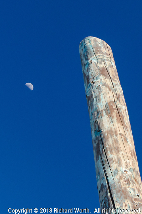 The first quarter moon, March 24, 2018, juxtaposed with a weathered post, part of the observation platform at the MLK Regional Shoreline, Oakland, California.