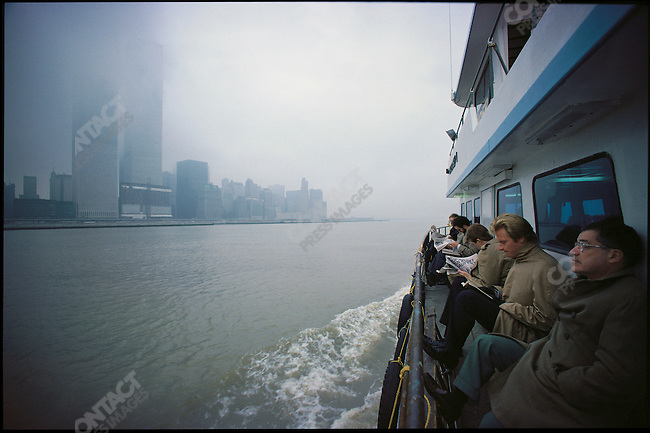 Staten Island Ferry and the World Trade Center, New York City, New York, USA, April 1980