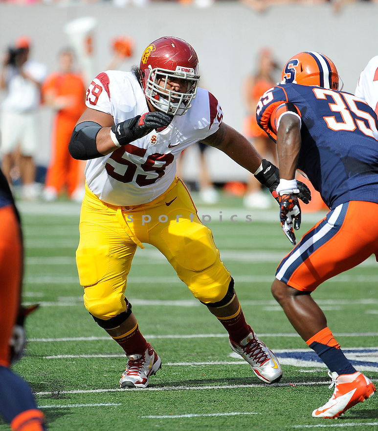 USC Trojans John Martinez (59) in action during a game against the Syracuse Orange on September 8, 2012 at MetLife Stadium in East Rutherford, NJ. USC beat Syracuse 42-29.