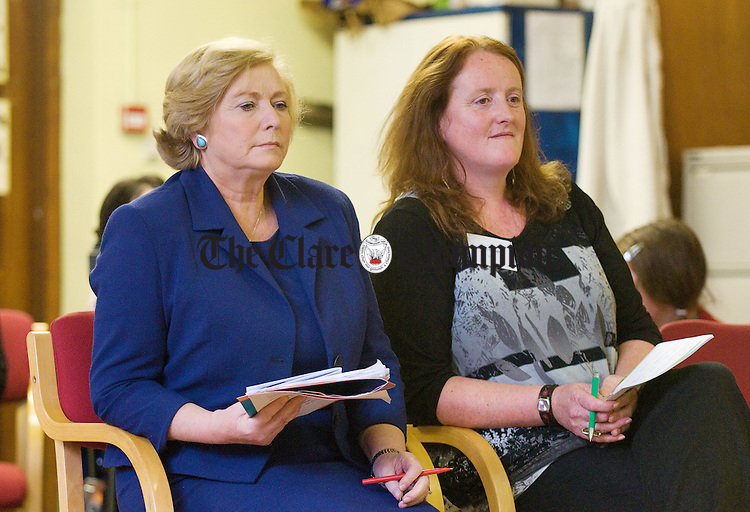 Minister for Children Frances Fitzgerald, with volunteer Mary O Donoghue at the tenth birthday of the Kilrush Family Resource Centre as part of  National Volunteering Day and also the launch of a volunteer Handbook. Photograph by John Kelly.