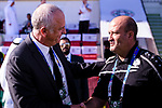 Australia Head Coach Graham Arnold (L) and Palestine Head Coach Ould Ali Noureddine greet each other prior to the AFC Asian Cup UAE 2019 Group B match between Palestine (PLE) and Australia (AUS) at Rashid Stadium on 11 January 2019 in Dubai, United Arab Emirates. Photo by Marcio Rodrigo Machado / Power Sport Images