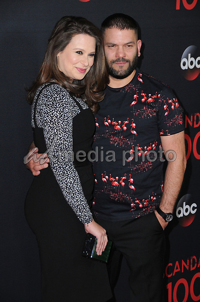 08 April 2017 - West Hollywood, California - Katie Lowes, Guillermo Diaz. ABC's 'Scandal' 100th Episode Celebration held at Fig & Olive in West Hollywood. Photo Credit: Birdie Thompson/AdMedia