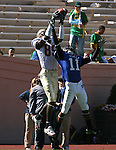 14 October 2006: Florida State's Greg Carr (89) outjumps Duke's John Talley (11) to catch a 33 yard touchdown pass near the end of the first quarter. The Florida State University Seminoles defeated the Duke University Blue Devils 51-24 at Wallace Wade Stadium in Durham, North Carolina in an Atlantic Coast Conference NCAA Division I College Football game.