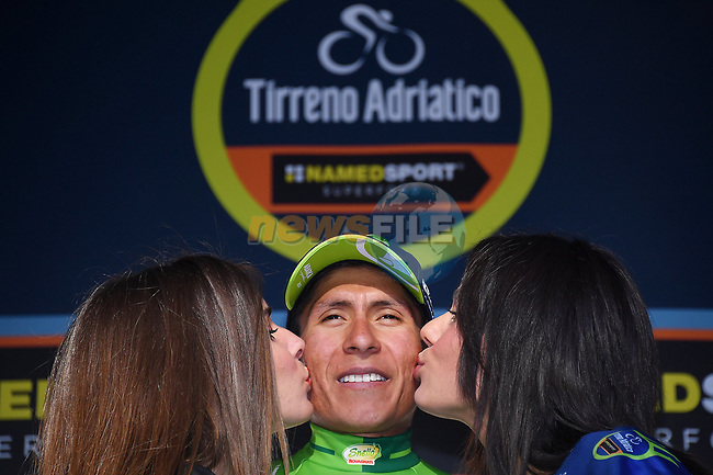 Race leader Nairo Quintana (COL) Movistar Team retains the Maglia Azzura and also takes over the Maglia Verde mountains jersey at the end of Stage 5 of the 2017 Tirreno Adriatico running 210km from Rieti to Fermo, Italy. 12th March 2017.<br /> Picture: La Presse/Gian Mattia D'Alberto   Cyclefile<br /> <br /> <br /> All photos usage must carry mandatory copyright credit (&copy; Cyclefile   La Presse)