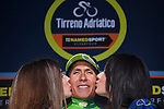 Race leader Nairo Quintana (COL) Movistar Team retains the Maglia Azzura and also takes over the Maglia Verde mountains jersey at the end of Stage 5 of the 2017 Tirreno Adriatico running 210km from Rieti to Fermo, Italy. 12th March 2017.<br /> Picture: La Presse/Gian Mattia D'Alberto | Cyclefile<br /> <br /> <br /> All photos usage must carry mandatory copyright credit (&copy; Cyclefile | La Presse)