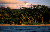 The sandy beach, blue water at the Mauna Kea Resort with palm trees and the Mauna Kea Observatory in the background