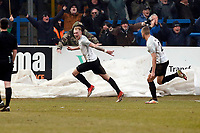 Mitch Pinnock scores and celebrates scoring the late winner during Dover Athletic vs Leyton Orient, Vanarama National League Football at the Crabble Athletic Ground on 3rd March 2018