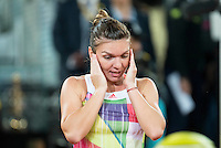 Romanian Simona Halep celebrating the victory during WTA Final Mutua Madrid Open Tennis 2016 in Madrid, May 07, 2016. (ALTERPHOTOS/BorjaB.Hojas) /NortePhoto.com