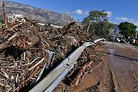 Pictured: Debris caused by heavy rain, blocks a main road in the area of Kinetta, near Athens, Greece. Monday 25 November<br /> Re: Heavy overnight rainfall has caused flooding and landslides in parts of Greece.
