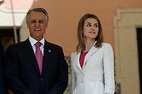 LISBOA, PORTUGAL, 30 DE MAIO 2012 - VISITA DO PRINCIPE E PRINCESA DA ESPANHA A PORTUGAL - O príncipe Felipe e a princesa Letizia durante encontro com o presidente Portugues Anibal Cavaco Silva e a primeira dama Maria Cavaco Silva no Palacio de Belem em Lisboa nesta quarta-feira, 30. (FOTO: BILLY CHAPPEL / ALFAQUI / BRAZIL PHOTO PRESS).
