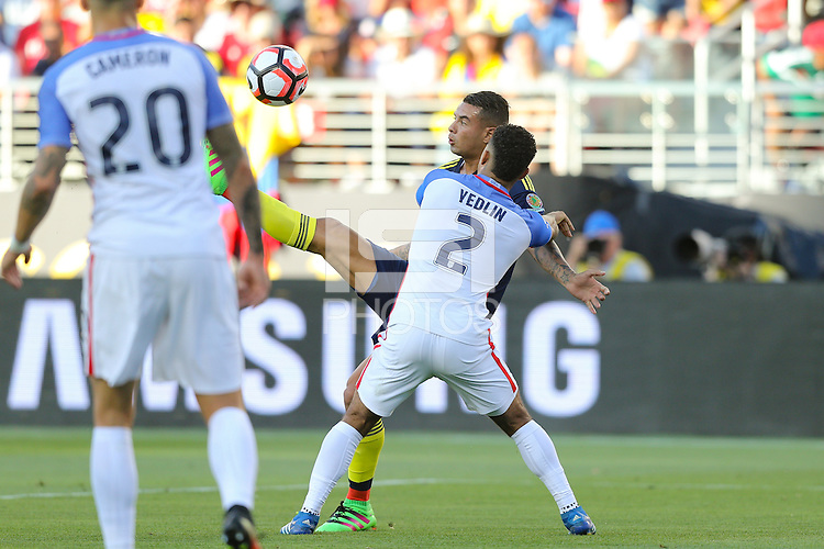 Santa Clara, CA - Friday June 03, 2016: Colombia midfielder Edwin Cardona (8) and United States defender DeAndre Yedlin (2) during a Copa America Centenario Group A match between United States (USA) and Colombia (COL) at Levi's Stadium.