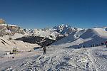 Col Rodella Ski Area above Canazei, Dolomites, Italy,
