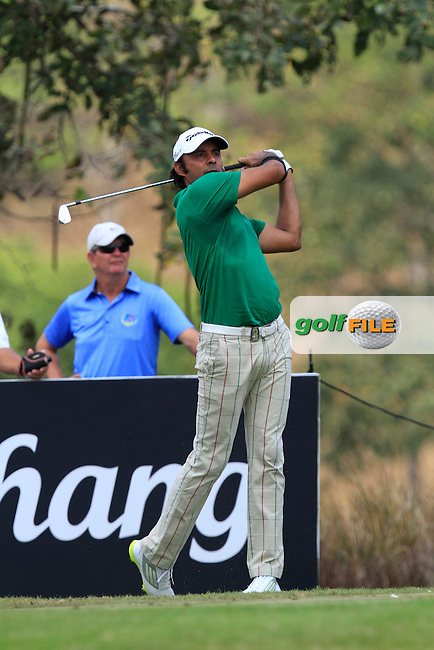 Jyoti Randhawa (IND) on the 8th tee during Round 4 of the True Thailand Classic at the Black Mountain Golf  Club on Sunday 15th February 2015.<br /> Picture:  Thos Caffrey / www.golffile.ie