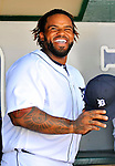 9 March 2012: Detroit Tigers first baseman Prince Fielder awaits awaits the start of play prior to a Spring Training game against the Philadelphia Phillies at Joker Marchant Stadium in Lakeland, Florida. The Phillies defeated the Tigers 7-5 in Grapefruit League action. Mandatory Credit: Ed Wolfstein Photo